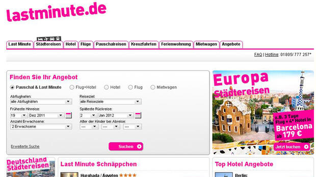 Platz 10: Travelocity Europe Quelle: Screenshot