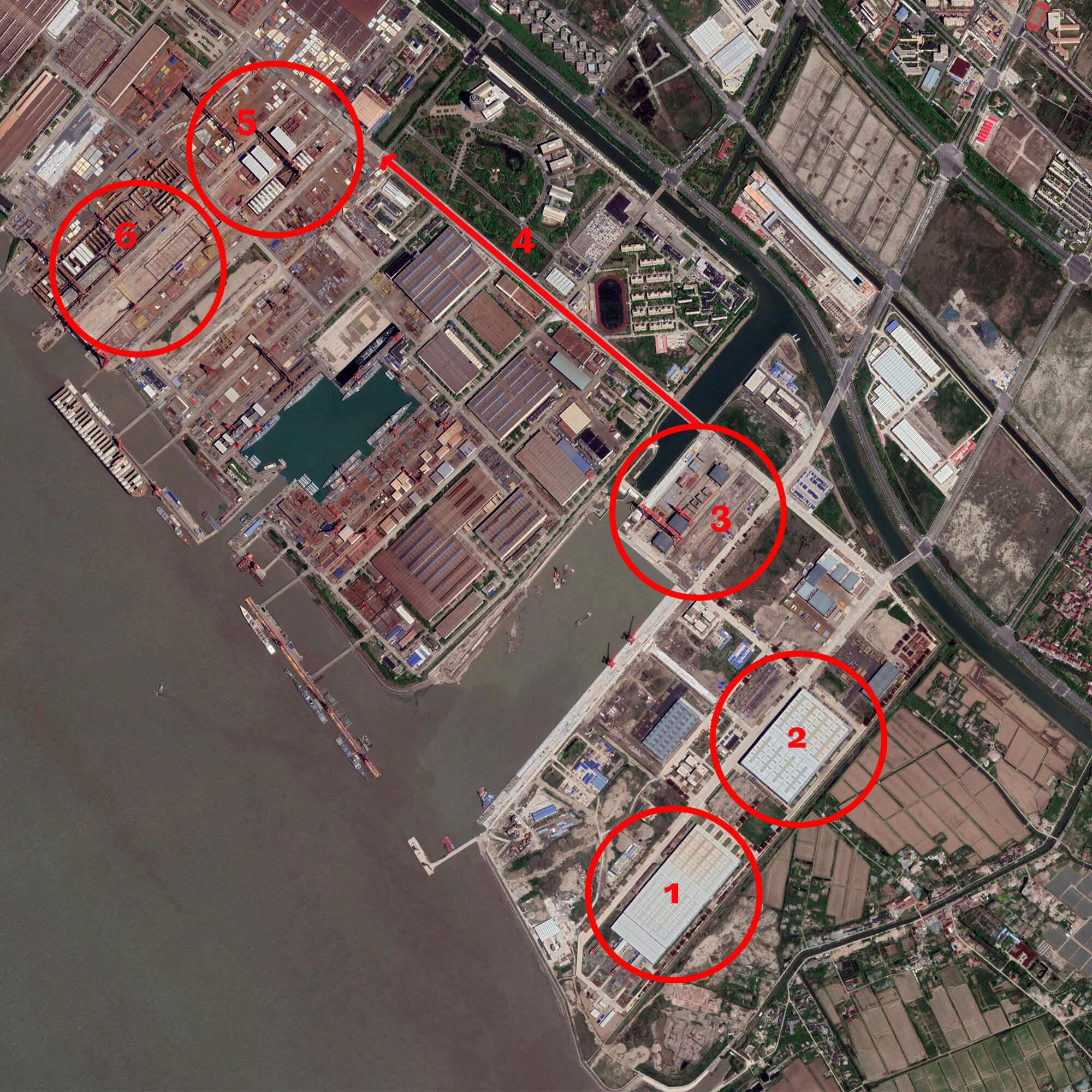 Das Gelände der Werft von Dalian