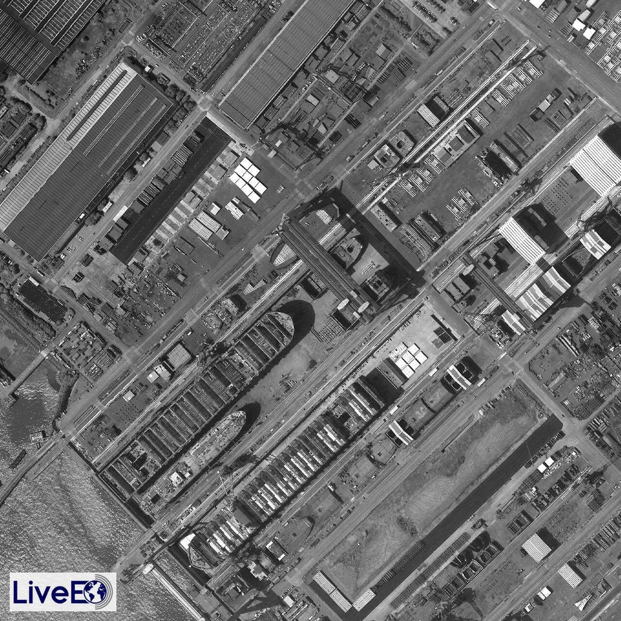 Das Gelände der Werft von Dalian, bevor die Werft gebaut wurde