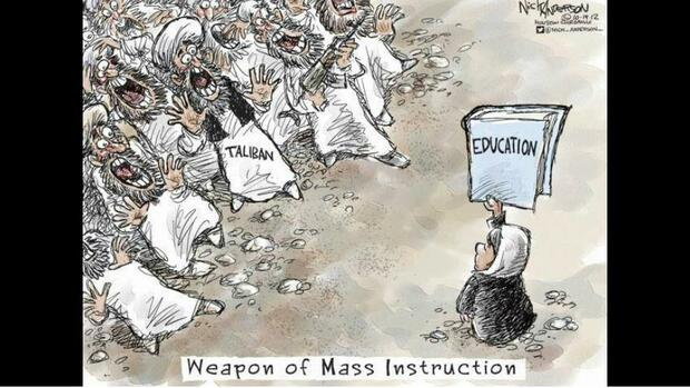 "Links: Eine panische Menge Männer, bezeichnet mit ""Taliban"". Rechts: Eine Frau mit Buch, auf dem ""Education"" (Erziehung, Bildung"") steht. Bildunterschrift: ""Weapon of Mass Instruction"" Quelle: Twitter"