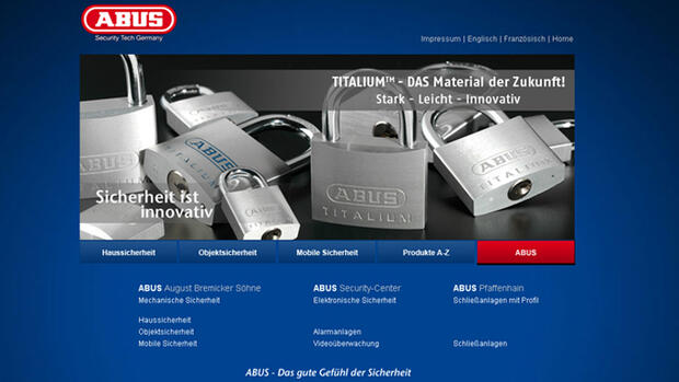 Homepage von Abus Quelle: Screenshot