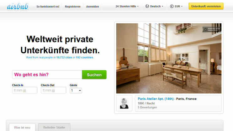 airbnb Quelle: Screenshot