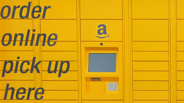 Ein Amazon Locker in Birmingham. Quelle: Pressebild, Montage