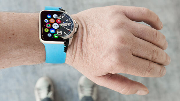Apple-Watch frisst Armbanduhr Quelle: Getty Images, Montage
