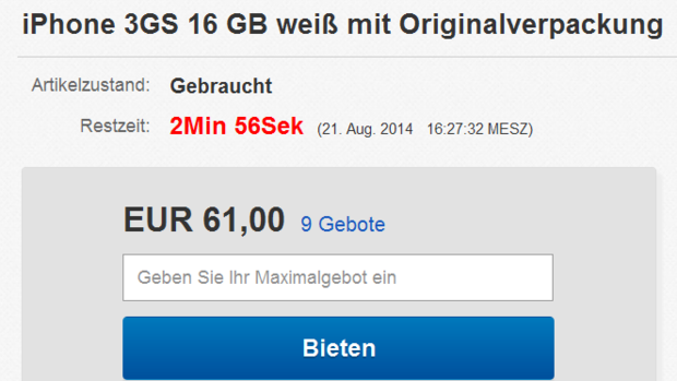 eBay Auktionsende Quelle: Screenshot