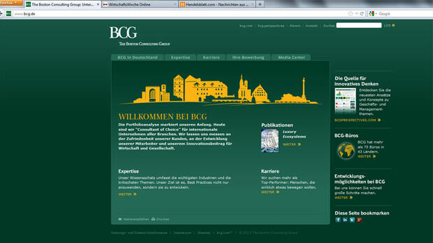 Screenshot der Internetseite der Boston Consulting Group