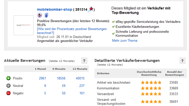 eBay Bewertungsportal Quelle: Screenshot