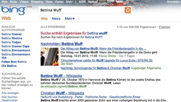 Screenshot der Bing-Homepage Quelle: Screenshot