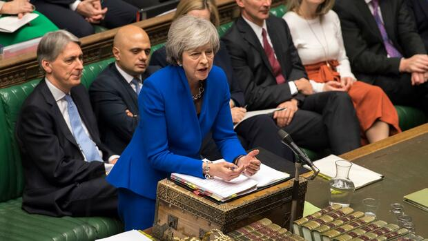 Theresa May spricht im House of Commons in London. Quelle: AP