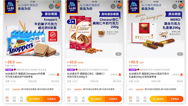 ProduktPreis in DeutschlandPreis in China (davon Importzölle)Knoppers 1,89 Euro 3,90 Euro (45 Cent) Choceurab 99 Cent5,66 Euro (67 Cent)Merci2,39 Euro9,40 Euro (1,30 Euro) Quelle: Screenshot