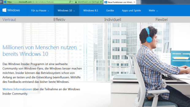 Crowdsourcing, Windows 10, Microsoft Insider Programm Quelle: Screenshot