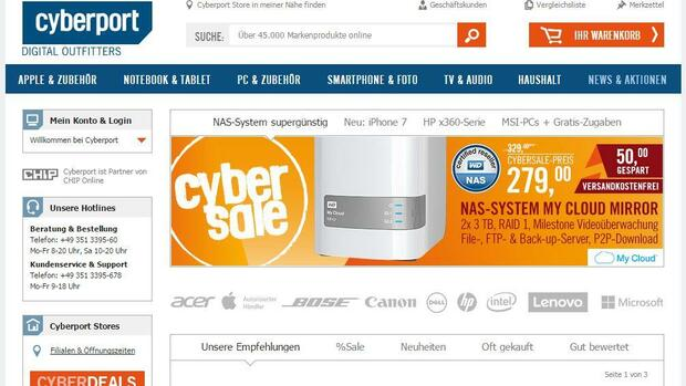 Cyberport.de Quelle: Screenshot