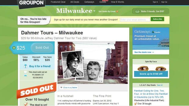 This screen grab from Groupon.com Milwaukee page, shows a SOLD OUT Dahmer Tour coupon. Quelle: dapd