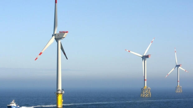 Der Offshore-Windpark «Alpha Quelle: dpa