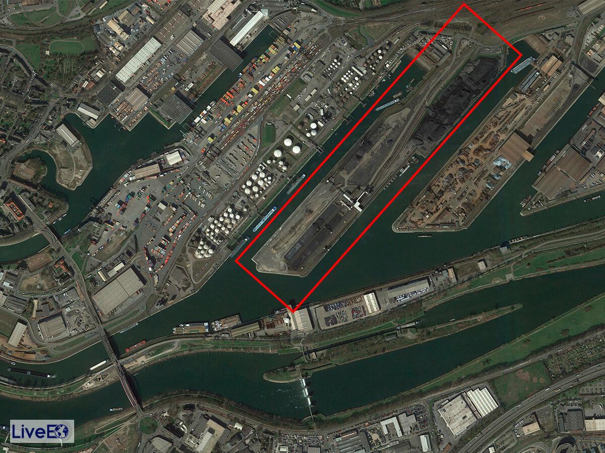 """Auf der """"Kohleninsel"""" im Hafenteil östlich des Rheins soll das Duisburg Gateway Terminal entstehen. Auf 240.000 Quadratmetern soll das größte inländische Containerterminal Europas entstehen."""