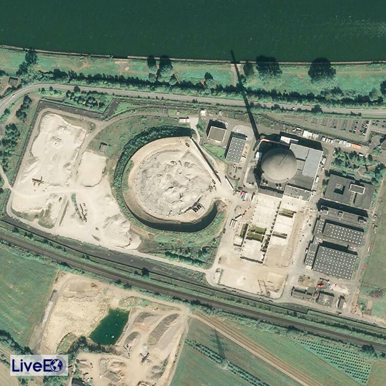 Satellitenbild des Geländes des Atomkraftwerks Mülheim-Kärlich