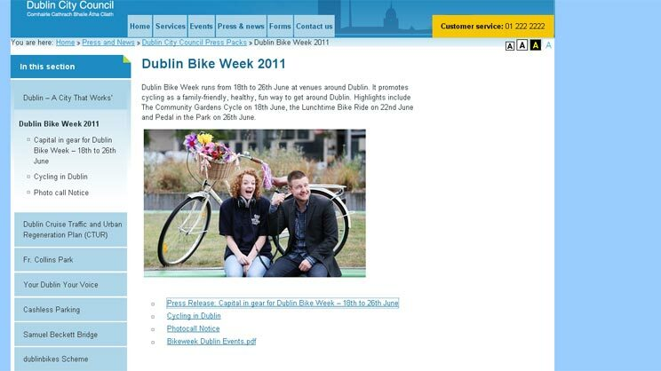 Screenshot der Homepage von Dublin Quelle: Screenshot