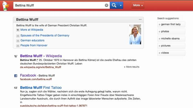 Screenshot der DuckDuckGo-Hompegae Quelle: Screenshot