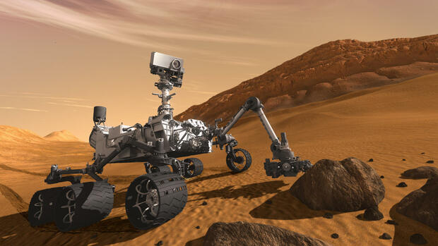 "Computerillustration des Mars-Rovers ""Curiosity"" der Nasa. Quelle: dapd"