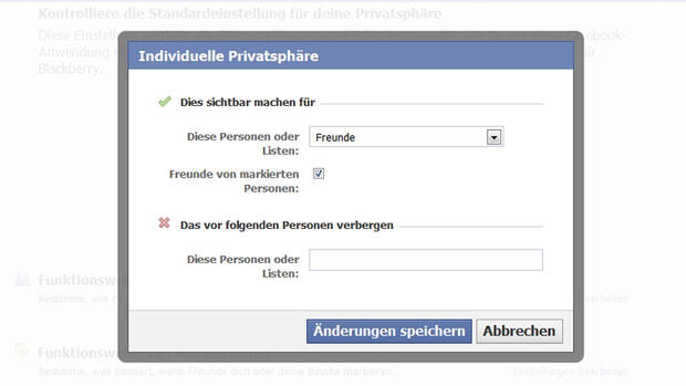 Facebook - Individuelle Privatsphäre Quelle: Screenshot