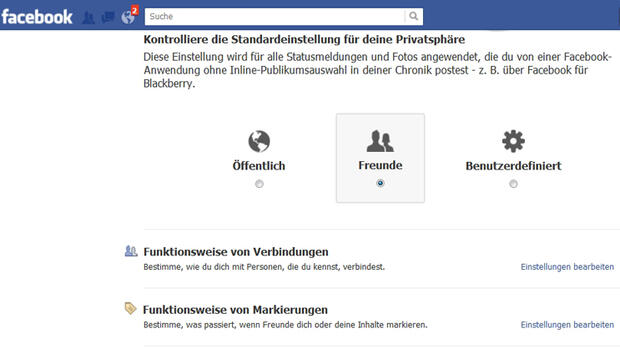 Facebook - Privatsphäre Quelle: Screenshot