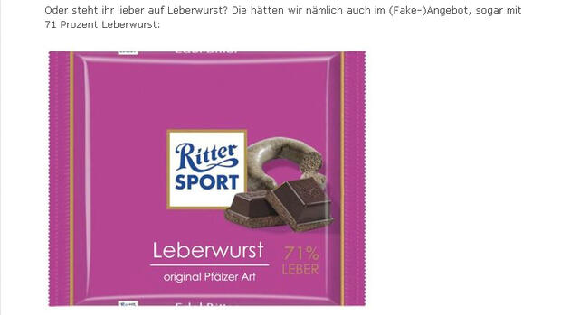 Ritter Sport-Fake Quelle: Screenshot
