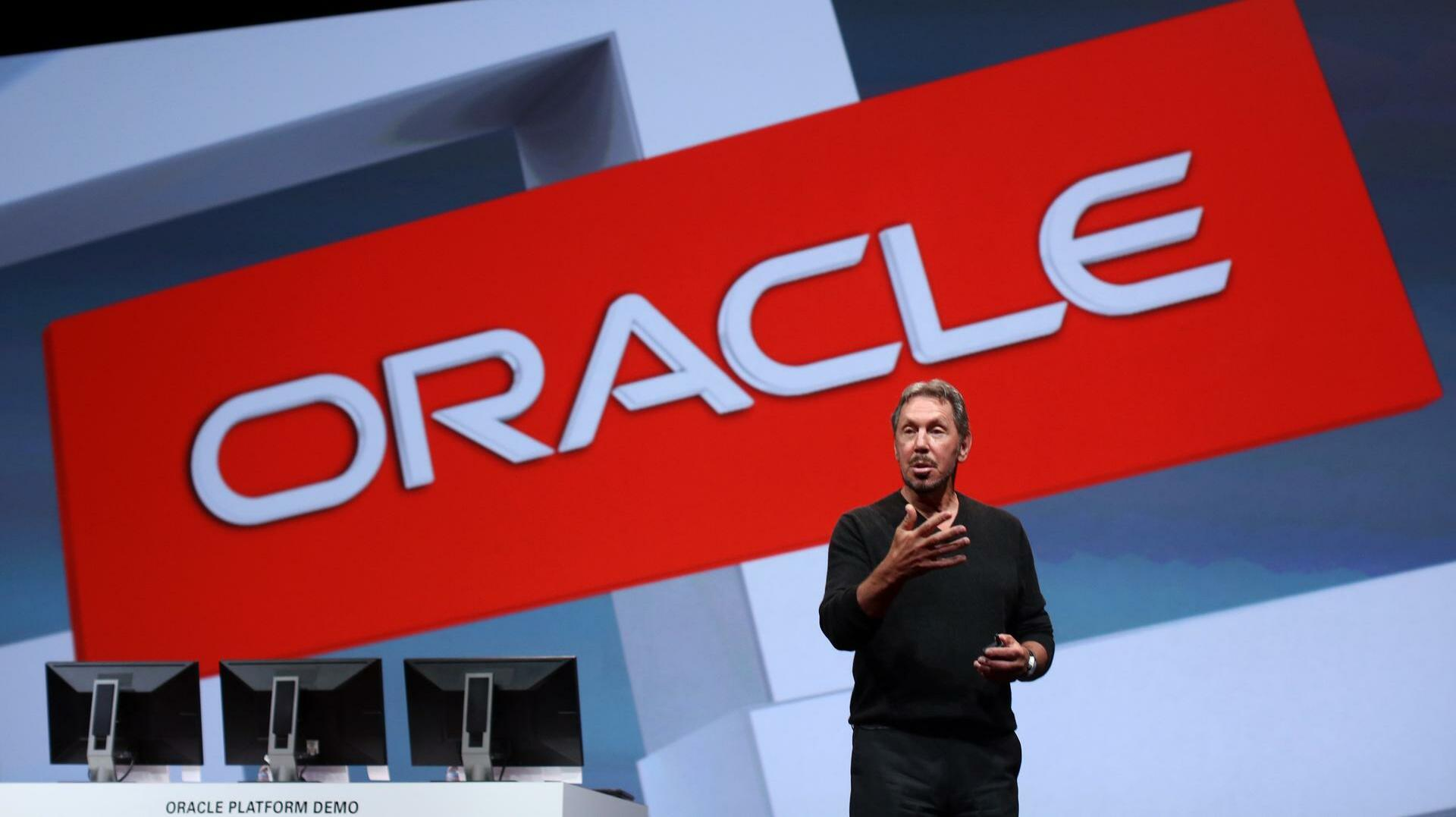 Larry Ellison bei einer Präsentation des Oracle-Konzerns Quelle: REUTERS
