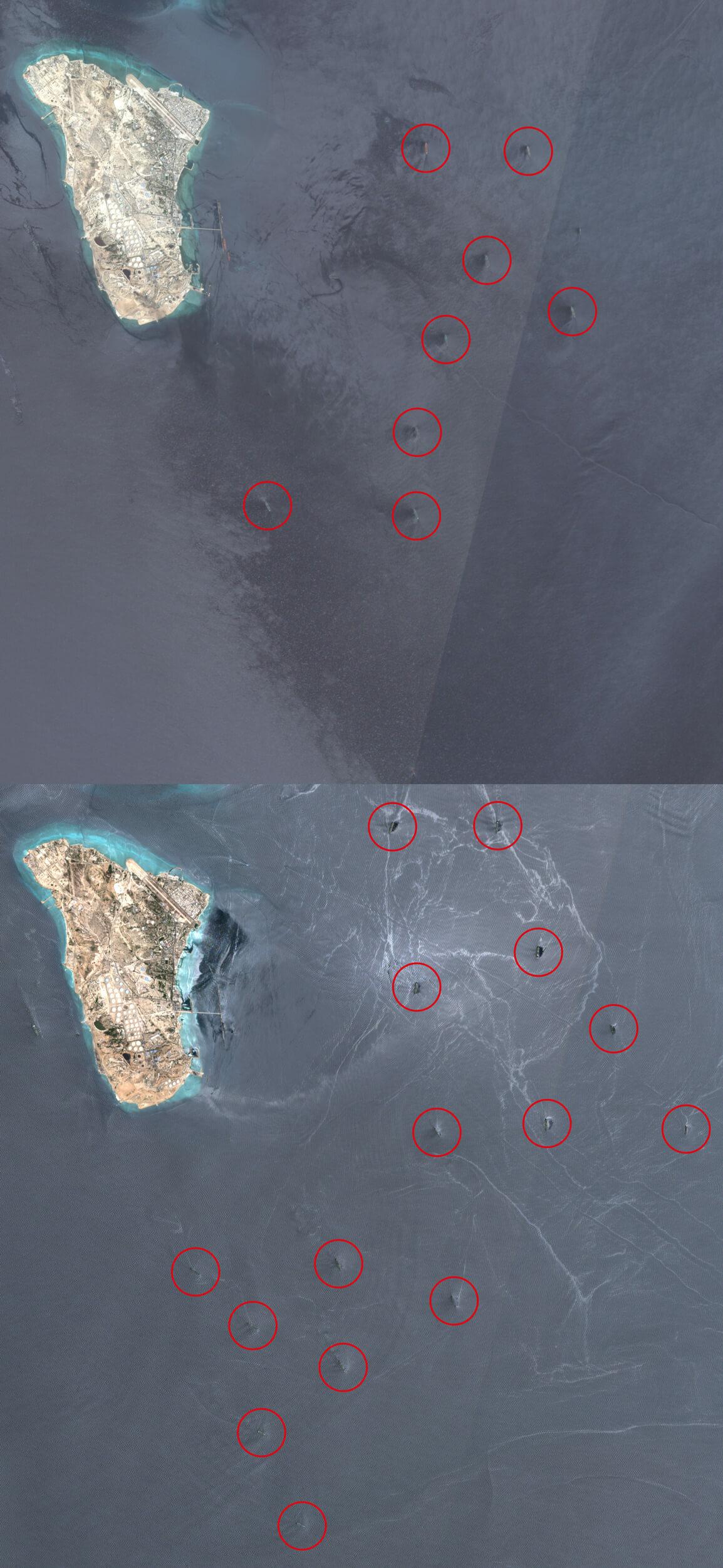 Am 16. August 2016 zeigten Satellitenaufnahmen in den Gewässern nur acht Tanker. Am Sonntag waren 16 Tanker zu erkennen.