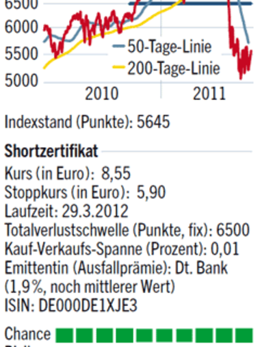Grafik: Dax-Index 2010-2011, Informationen zum Shortzertifikat