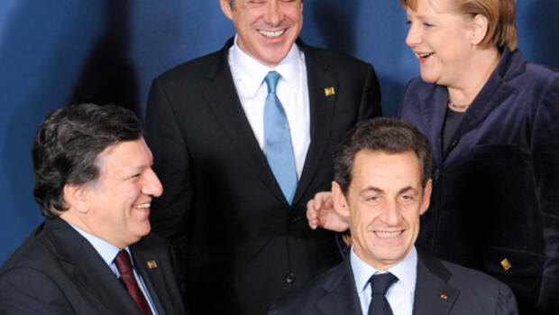 Barroso, Socrates, Sarkozy, Merkel Quelle: Getty Images/AFP