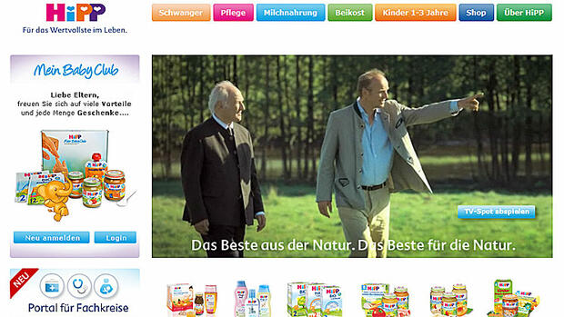 Screenshot der Homepage hipp.de Quelle: screenshot
