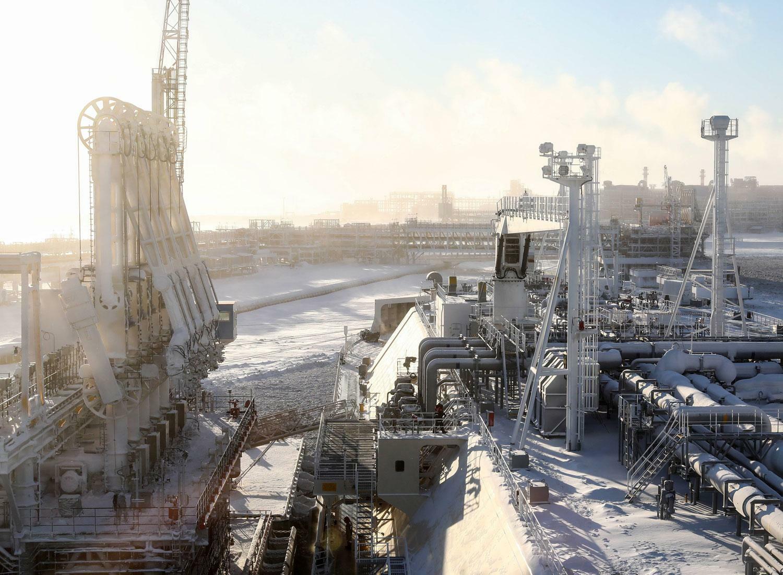 Tanker Christophe de Margerie, betrieben von Sovcomflot, lädt Flüssiggas