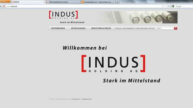 Internetseite der Indus Holding Quelle: Screenshot