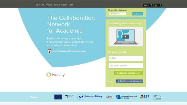 Screenshot der Homepage von iversity Quelle: Screenshot