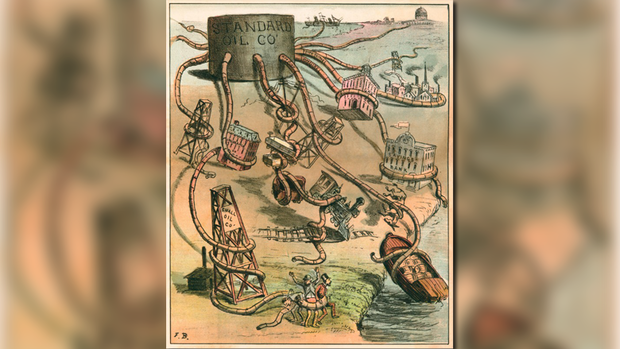 """The Monster Monopoly"": Cartoon von 1884 über den Öl-Konzern Standard Oil. Quelle: Getty Images, Udo J. Keppler: The Monster Monopoly, 1884"