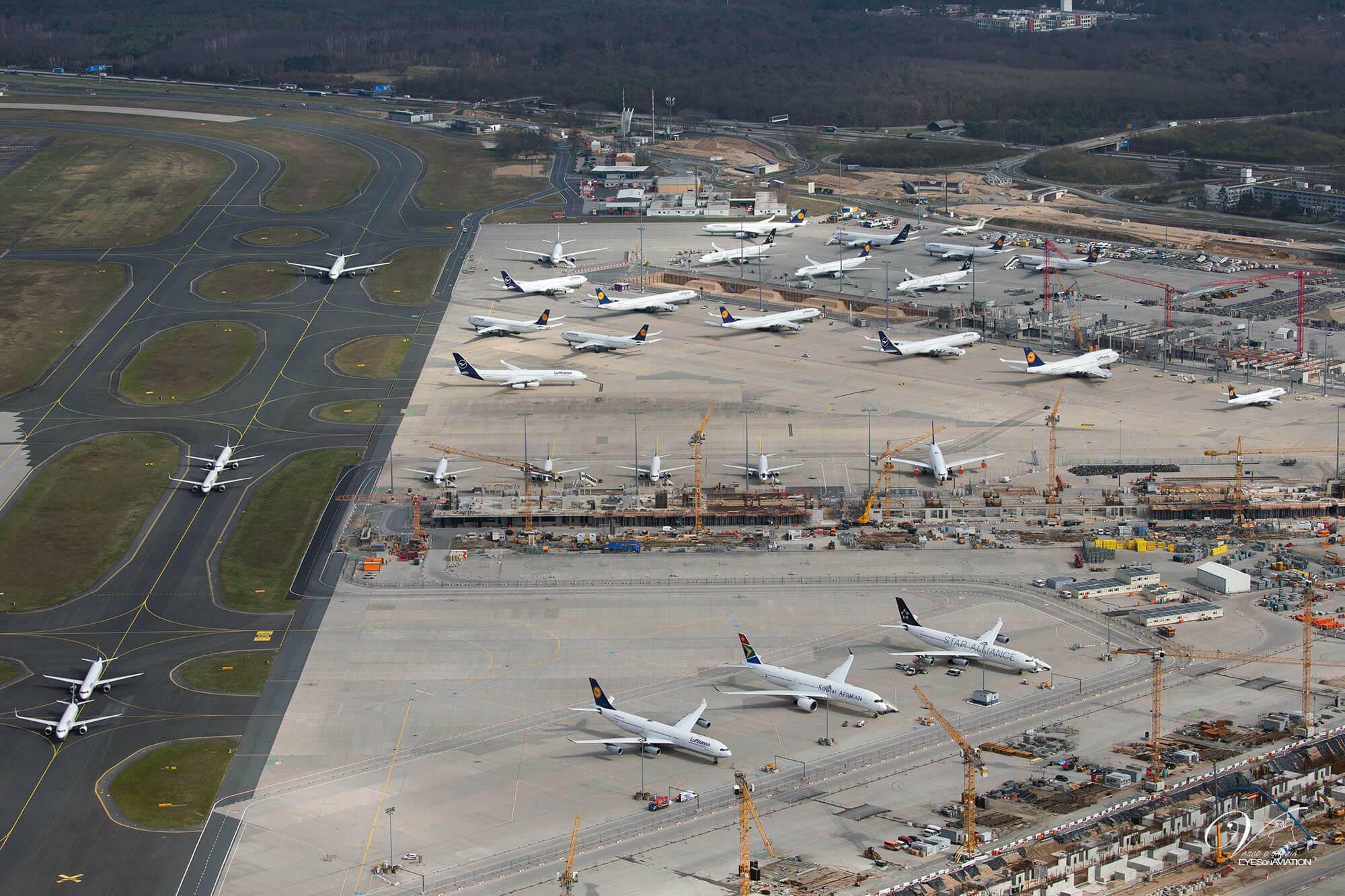 Seit dieser Woche stellt die Lufthansa nicht benötigte Flugzeuge auch am Flughafen Frankfurt ab
