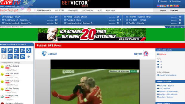 Screenshot der Webseite Live.tv Quelle: Screenshot
