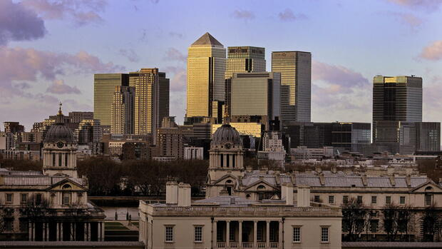general view of the financial district Canary Wharf in London Quelle: dpa