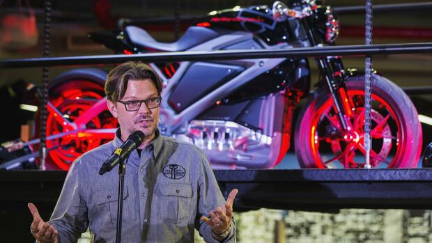 Harley-Marketing-Chef Mark-Hans Richer stellte die E-Harley in New York vor. Quelle: REUTERS