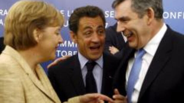 Merkel, Sarkozy, Brown: In der Quelle: dpa