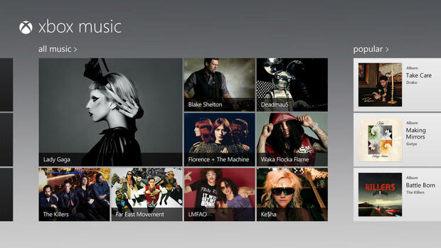 screen image of their new service called, Xbox Music Quelle: dapd