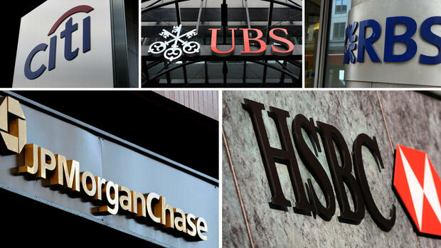Die Logos der Banken Citigroup, UBS, Royal Bank of Scotland (RBS), JPMorgan und HSBC. Quelle: dpa