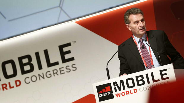 Günther Oettinger Mobile World Congress Quelle: dpa