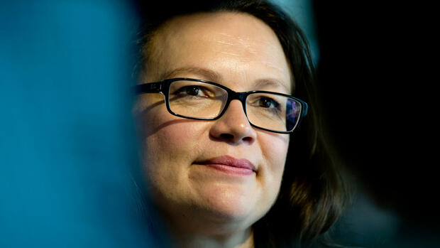 Arbeitsministerin Andrea Nahles (SPD) Quelle: dpa