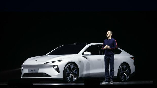 Nio-Ceo William Li präsentiert den neuen ET7. Quelle: Nio