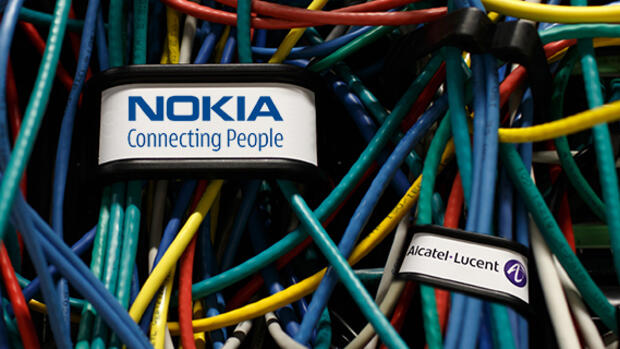 Nokia bietet 15,6 Milliarden für Rivalen Alcatel-Lucent. Quelle: Bloomberg