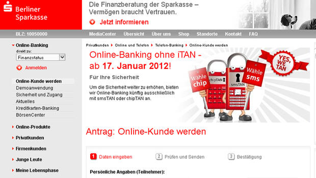 Screenshot Online Banking der Berliner Sparkasse Quelle: Screenshot