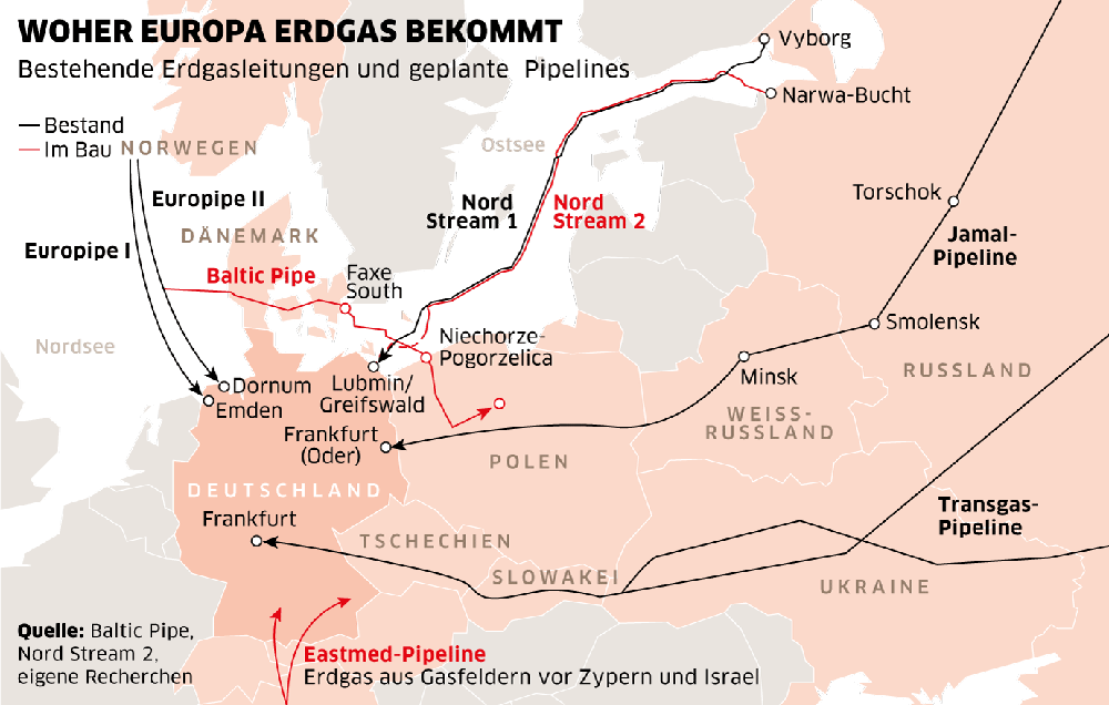 Karte von Europa mit bestehenden Erdgasleitungen und geplanten Pipelines