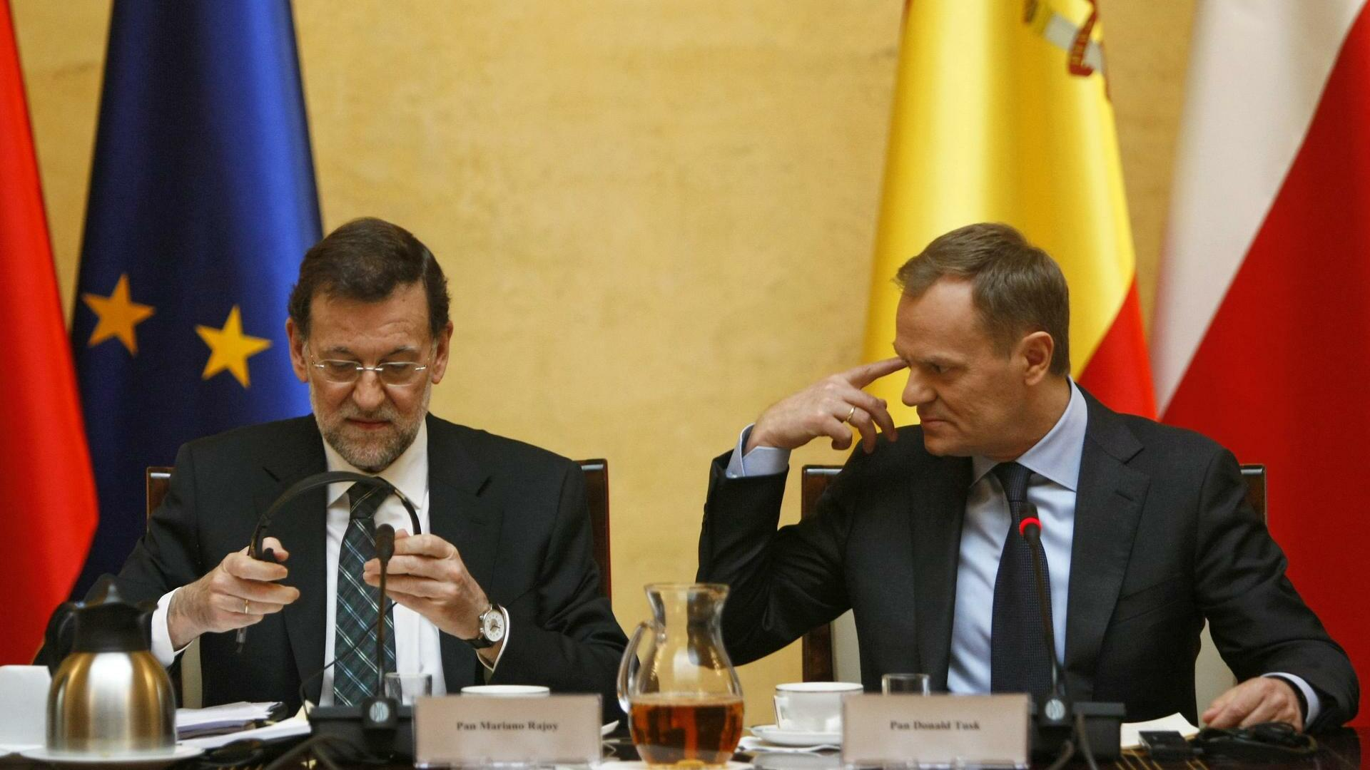 Poland's Prime Minister Donald Tusk (R) and his Spanish counterpart Mariano Rajoy Quelle: REUTERS
