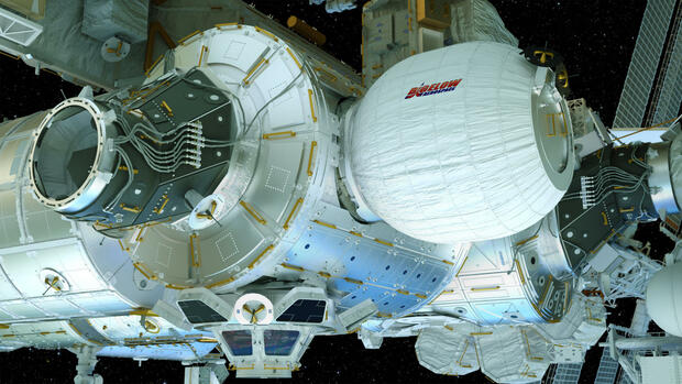 Eine computeranimierte Illustration der Nasa zeigt das Bigelow Expandable Activity Module (BEAM), entwickelt von der Firma Bigelow Aerospace. Quelle: dpa